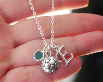 Personalized Soccer Necklace, Soccer Ball Necklace, Letter Birthstone, Soccer Girl Gift, Gifts for Girl Soccer Player, Soccer, CLCB