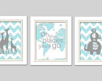 Oh the places you will go, Turquoise and grey nursery, Elephant and Giraffe Nursery, Set of 3 8X10, choose your colors