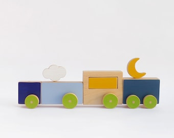 The blue wooden toy train - Eco friendly push toy for children