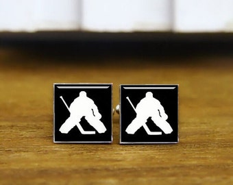ice hockey cufflinks, custom sports cuff links, custom round or square cufflinks & tie clip, hockey goalie cufflinks, ice sports cuff links