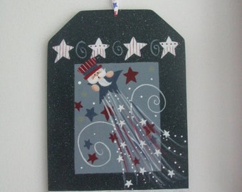 4th of July wall hanging, patriotic decor, americana decor, patriotic wall hanging, tole painting, gift for her, hostess gift,