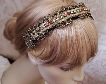 Lace headband with Czech glass crystals, vintage gold lace Tiara wide headband, hair jewelry, floral lace headpiece for women