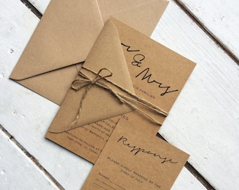 rustic wedding invitation set,elegant wedding invitation, invitation suite, 100% recycled invitation