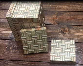 Edge/End Grain Plywood Coasters - Set of 6