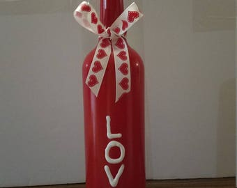 """Hand painted bottle """"LOVE"""""""