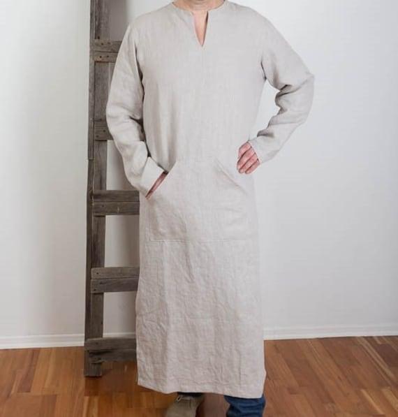 Custom Mens order Night Linen Shirt wear Linen Linen shirt Linen Beach Homewear Kaftan Dress Long Robe Caftan ZgwfqZr