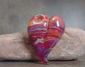 Artisan Glass Heart, Boro Lampwork Heart Pendant, Boro Heart, Art Glass Focal Bead, Divine Spark Designs, SRA