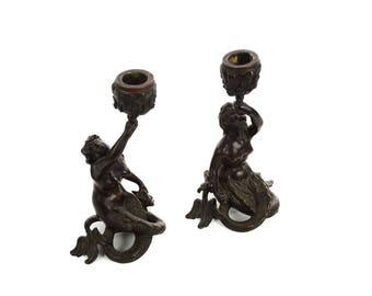 19th century Bronze Figural Mermaid Candlesticks -A pair