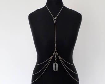 Razorblade Body Chain - High Quality 304 Stainless Steel Bikini Chain - Chainmail Festival Harness