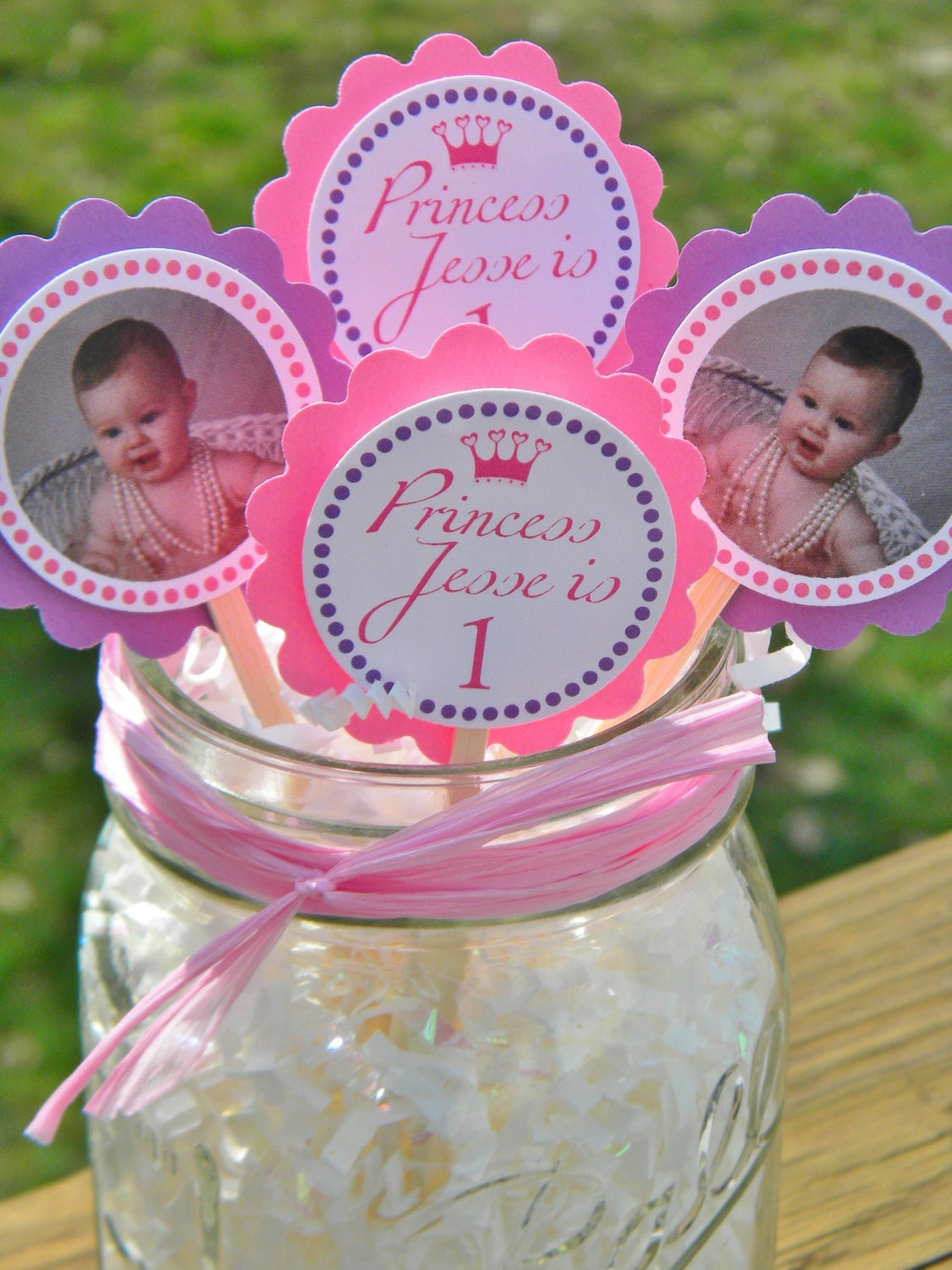 Photo Cupcake Toppers Personalized Baby Princess Birthday