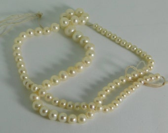 """Freshwater pearl round shape -  4-6-8mm - 15""""in long strand"""