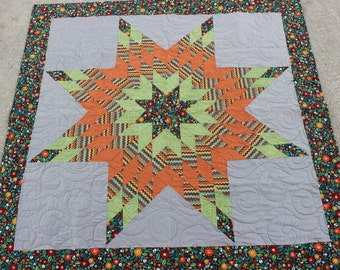 New Harvest Burst Native American Star Quilt (58 in x 57 in - Baby) - FREE SHIPPING