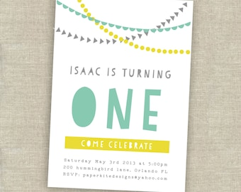 1st birthday invitation - first birthday invitation - boy birthday party invitation