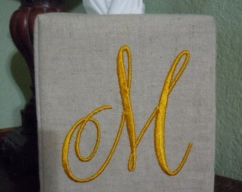 "Monogrammed Essex Natural Linen Tissue Box Cover -  Harper Monogram "" M ""  Made To Order"