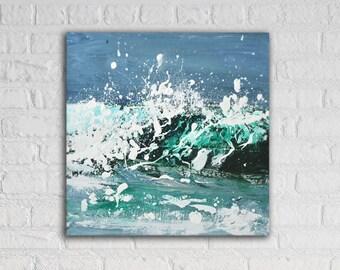 "Sea Painting Ocean Art Acrylic Original // ""Break"" 16 x 16"" Canvas"