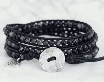 Black Wrap Bracelet, Black Leather Wrap, Wrap Bracelet, Black Jasper Beads, Black and Silver Bracelet, Silver Button, Boho Wrap Bracelet