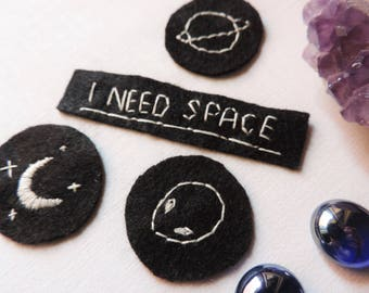 Patch i need space alien moon planets space hand embroidered on felt