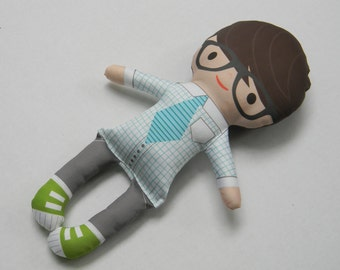 Custom Organic Eco friendly soft handmade BoySoft Plushie Doll MAX bowtie