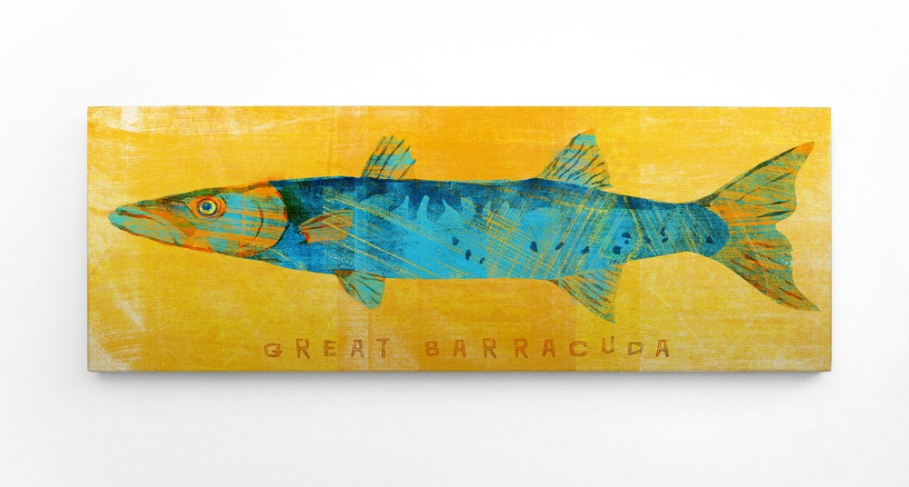 Great Barracuda Art Block Gift for Him Fishing Fish Gifts