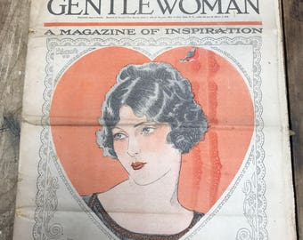 3 vintage February  1924, 1930, 1931 copies of The Gentlewoman Magazine Valentine's Day