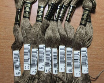 Lot of 5 Skeins DMC Floss # 610