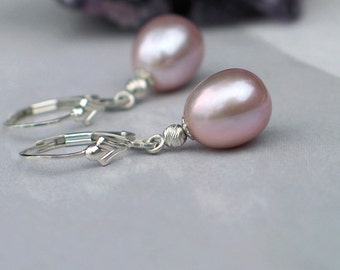 Pink Lavender Pearl Earrings | Mauve Freshwater Drops | Sterling Silver Fleue de Lis Leverbacks | Purple Haze Pearl Dangles | Ready to Ship