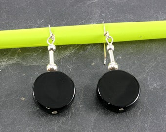 Onyx and Silver Earrings  --  6377