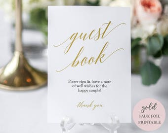Gold Guest Book Sign Printable - Wedding Printable - Gold Foil - Minimalist Guestbook - Instant Download Editable PDF - 5x7 inches - #GD3411