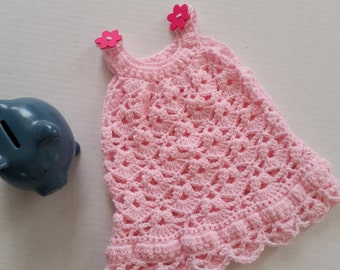 Crochet Baby Dress, - Baby Girl Dress, Infant Dress, Newborn Dress, Baby Shower Gift, Crochet Baby Clothes, Pink Dress