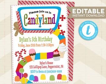 CANDYLAND Invitation, Candyland Party Invitation, Candyland editable invitation, instant download, printable template