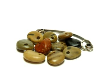 Drilled Beach Fossil Stones SHISH KABOB Pebbles Sea River Rocks Jewelry Making Beads Dangle Charms Pendants Stone diy