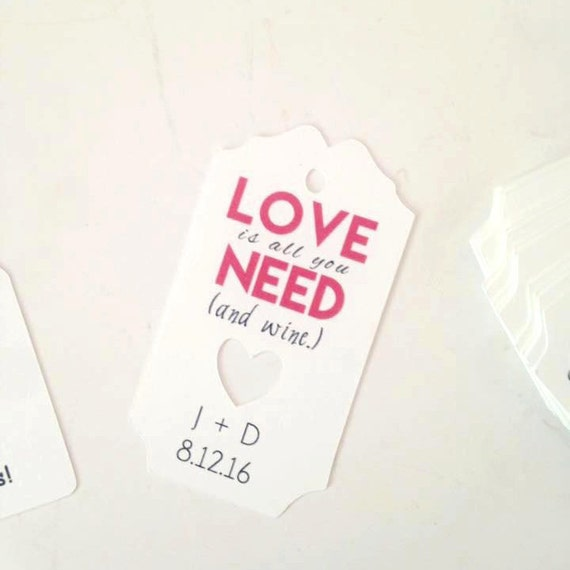For the WINE lover, Love is All You Need and wine Wine tags, vineyard wedding, wine, Wedding Favor Bags, Bachorlette Favors, Bachelor Favors