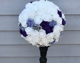 Large Centerpiece Purple Lavender Silver and White Centerpiece Pomander