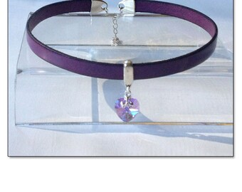 My Heart BDSM Collar Choker Purple Violet Crystal Leather Collar Choker Submissive BDSM Daytime Slave Collar BDSM Jewelry