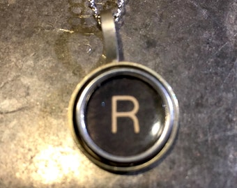 R Typewriter Key Pendant