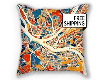 Pittsburgh Map Pillow - Pennsylvania Map Pillow 18x18