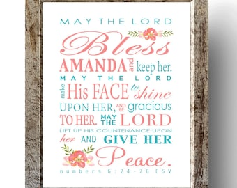 May the Lord Bless You and Keep You, Baby shower gift, Baby baptism gift, Numbers 6:24-26, Baby Nursery, Personalized Gift, Religious Art
