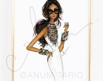 """Fashion Illustration Print, Tribal Jewelry, 8x10"""""""