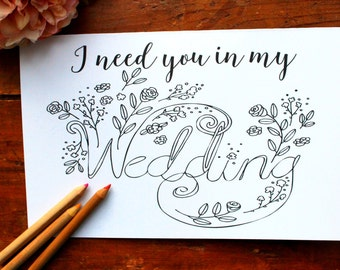 Will You Be my Bridesmaid Card, Color in Card - Totally Unique Bridesmaid card! Asking Wedding Party Cards, Will you be my Bridesmaid Card