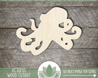 Wood Octopus Shape, Unfinished Wood Octopus Laser Cut Shape, DIY Craft Supply, Many Size Options, Blank Wood Shapes