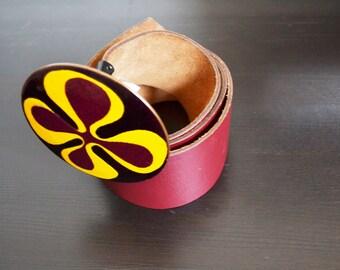 1970 De Passille sylvestre enamel buckle leather belt