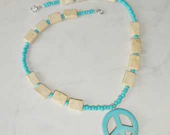 Turquoise Peace Sign Necklace Howlite Peace Sign Beige Stone Beads Handmade