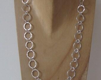 Hammered silver circles necklace, handmade silver necklace, contemporary Scandinavian design,UK shop