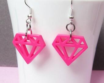 Diamond Plastic Earrings - Hot Pink, Light Pink, Lilac, White
