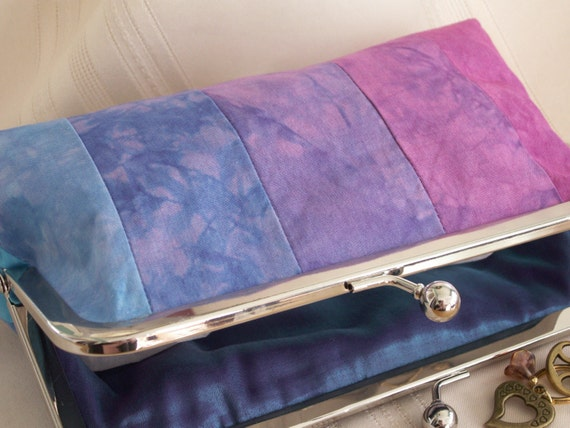 Handmade, hand-dyed, patchwork clutch. Pink, purple, blue. WATER MUSIC by Lella Rae on Etsy