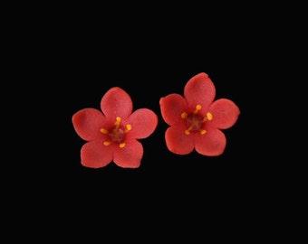 Scarlet Pimpernel Mini Stud Earrings