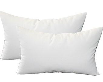 Set of 2 - Solid Ivory / Cream  Indoor / Outdoor  Rectangle / Lumbar Throw Pillows