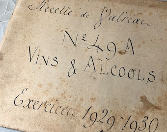 Antique French Wine & Alcohol Journal