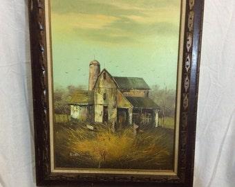 R. Brant Original Vintage Oil Painting Rustic Barn Farm House In Fall- Nice Wood Frame