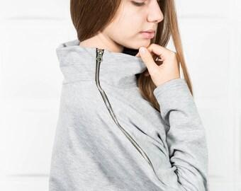 Long loose tunic,Grey loose tunic,Grey plus size tunic,Grey maxi tunic,Maxi tunic dress,Plus size tunic,Oversize tunic,Maxi cotton top/B0090